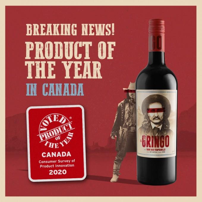 El Gringo Dark Red Tempranillo,  Product of the Year in Canada